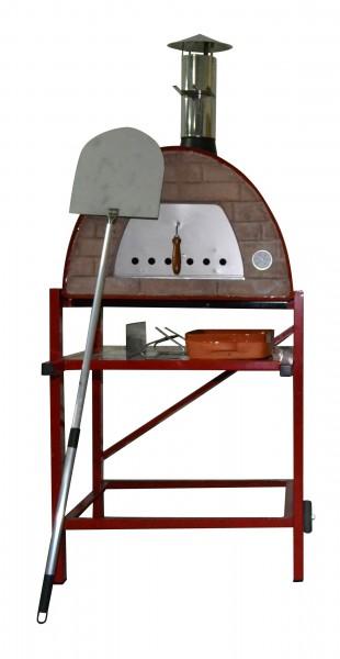 Impexfire mobiler Steinofen Maximus, rot mit Gestell