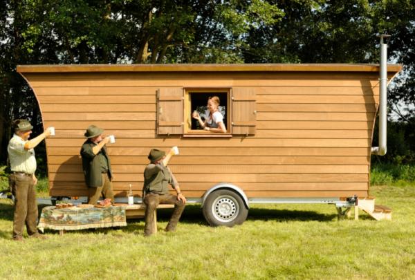 Mobile Jagdhütte im Einsatz